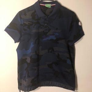 Moncler Shirts - Moncler Small Navy Blue Army Print Polo Shirt